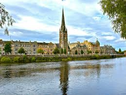 Perthshire's largest city, Perth, on the River Tay